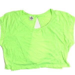 PINK Victoria's Secret Crop Lace Open Back Shirt